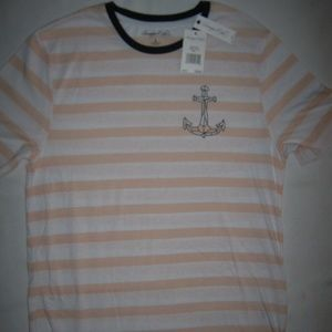 Sovereign Code Shirts - Sovereign Code Striped Anchor Tee Pink T-Shirt L